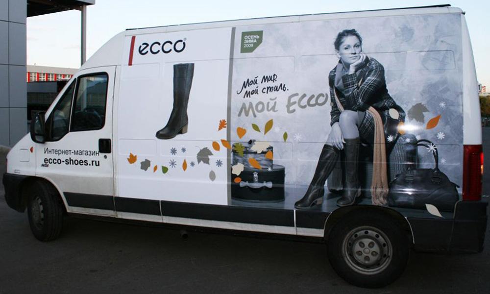 Рекламное оформление транспорта для бренда обуви ECCO