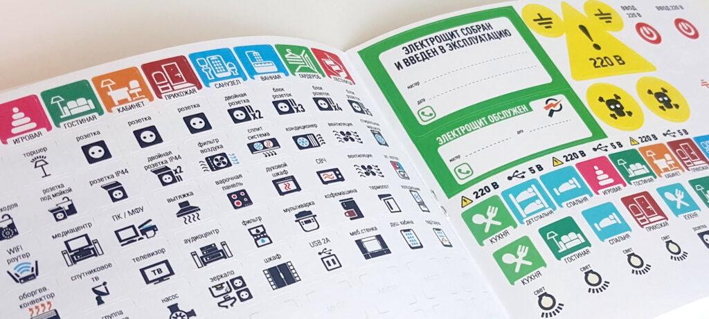 Набор стикеров для маркировки автоматических выключателей в распределительном щите в квартире