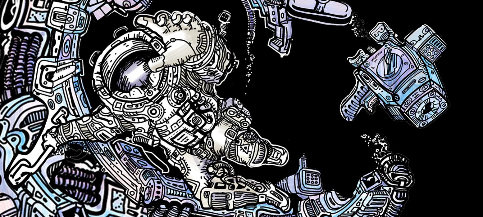 Игральные карты и мёрч с графикой В.Синкевича про освоение космоса в параллельной ветке реальности - Cosmos By Sinkevich